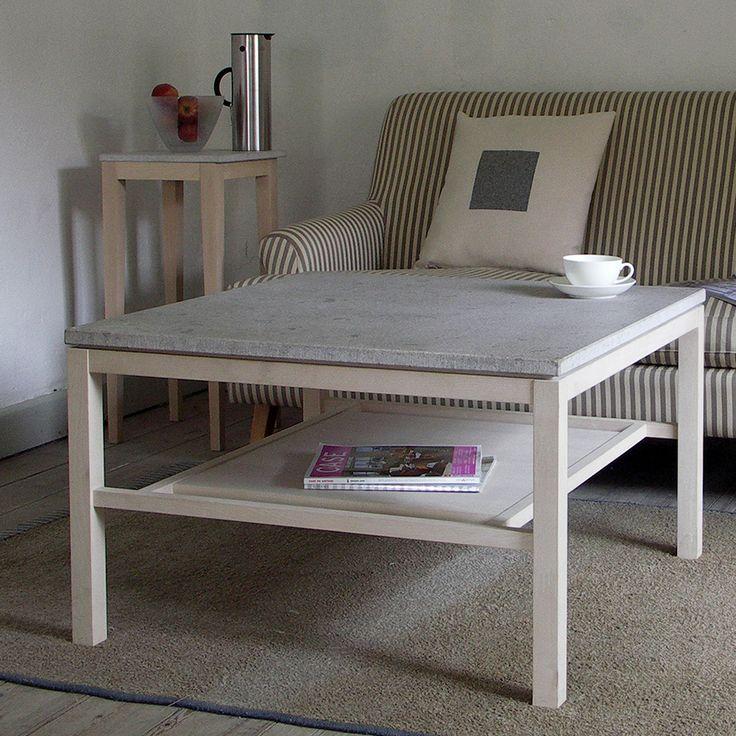 Hejnum från GAD är ett stilrent soffbord i björk som kommer i fyra storlekar. Skiva i trä, gotländsk kalksten eller granit. Endast kalksten på det runda bordet. En lös hylla ingår till det stora rektangulära bordet.Hejnum finns även i ek.