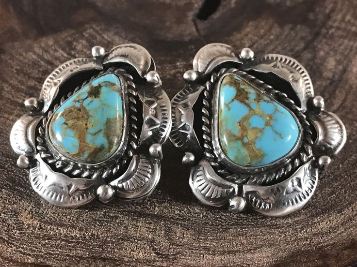 NAVAJO ~ROYSTON TURQUOISE ~ STERLING~EARRINGS ~SIGNED~MARCELLA JAMES | eBay