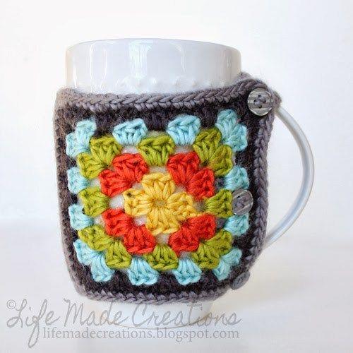 free easy granny coffee cozy crochet pattern