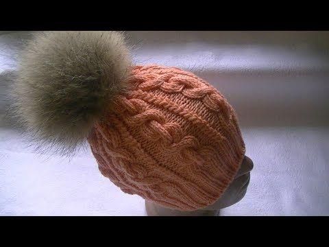 """Вязание шапки узором """"коса-цепь"""".Итальянский набор петель и полая резинка. - YouTube"""