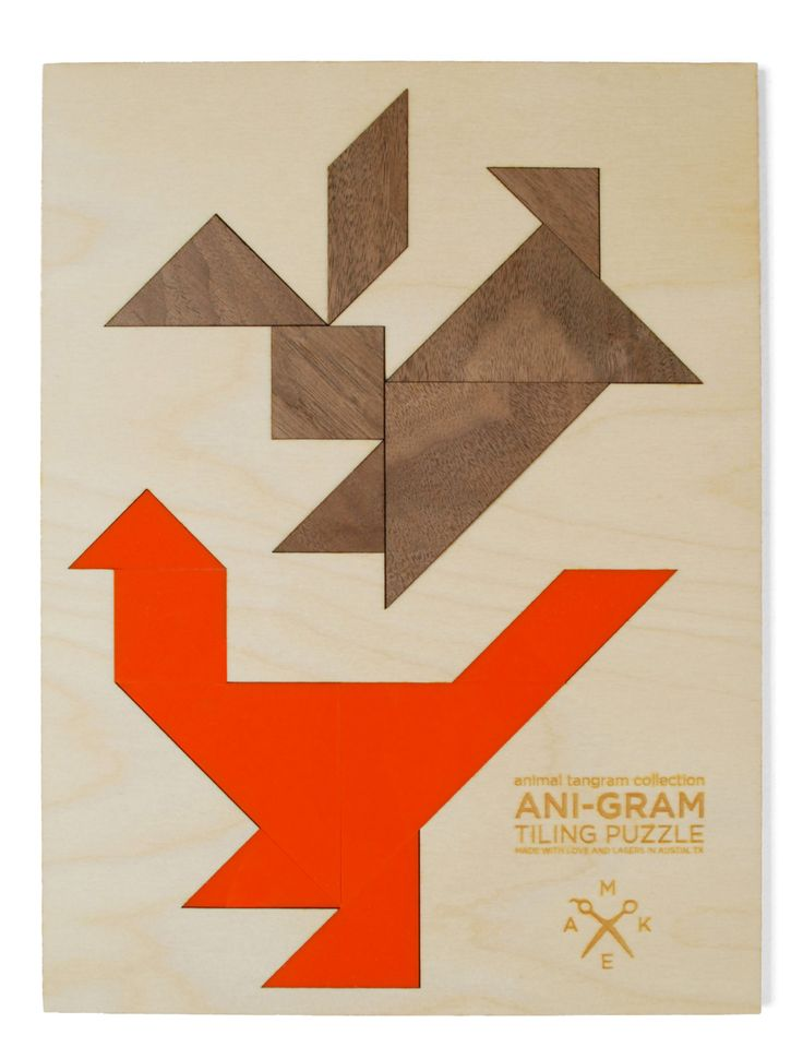 rabbit  rooster tangram puzzle by MakeATX on Etsy, $36.00