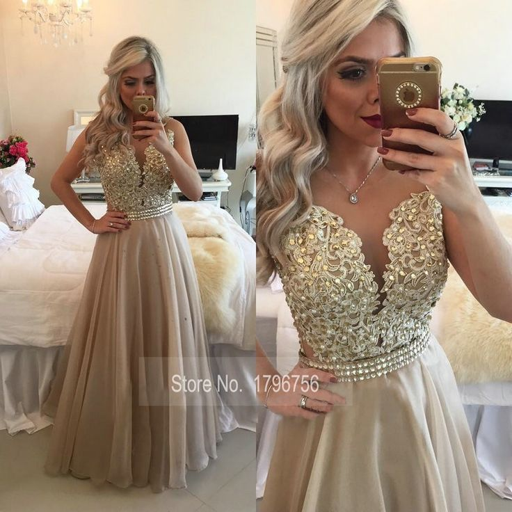 See Through Back Burgundy Evening Dresses Long Chiffon Gold Champagne Lace Applique Formal Gowns 2016 robe de soiree long