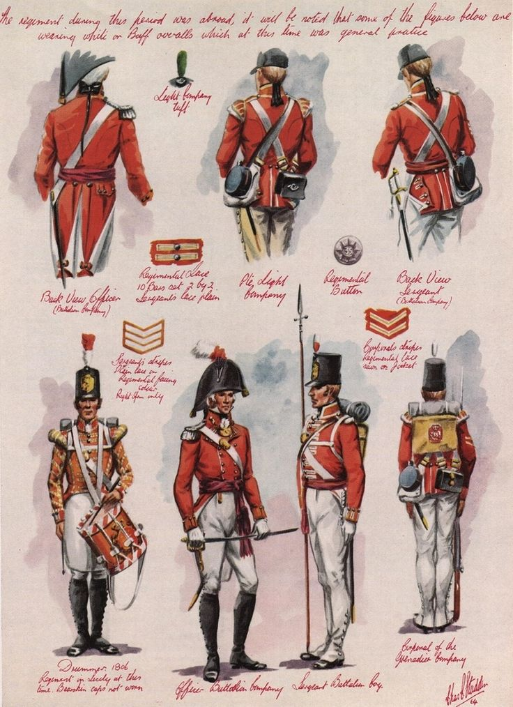 British; 35th(Sussex) Regiment of Foot. First of 3 plates by Charles C.Stadden covering the regiment from 1803-10.