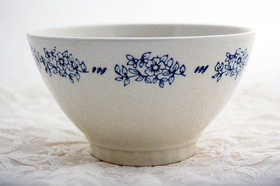 Vintage French cafe au lait bowl, sweet blue floral design
