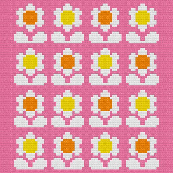 Kitschy Digitals :: Sewing & Needlework Patterns :: Flower Pop Cross-Stitch Pattern