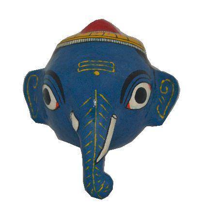 UTSAV KRAFT Cheriyal Sawdust Mask - Ganesha (Blue)