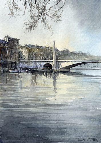 Tony Belobrajdic   WATERCOLOR   Paris, Seine