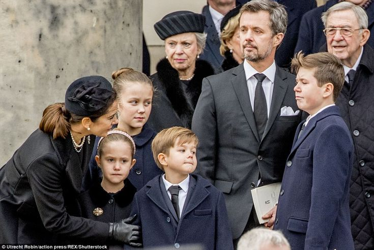Prince Christian, 12, (far right) who is Mary and Frederik's eldest son, was seen looking ...