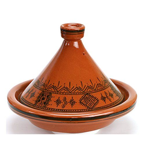 This is an elegant and heavy handmade Terracotta Tagine . It comes with a conical lid, featuring the unique Moroccan Design. Traditionally used by Moroccans for cooking. The Charcoal brazier in the picture is NOT included. The item being sold is only the Tagine (dish and lid). Hand washing your Tagine is recommended Size Large: