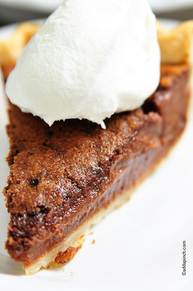 Chocolate Chess Pie Recipe from addapinch.com http://addapinch.com/cooking/2013/07/29/chocolate-chess-pie-recipe/?fb_source=pubv1#.UfgSuxhQMXE