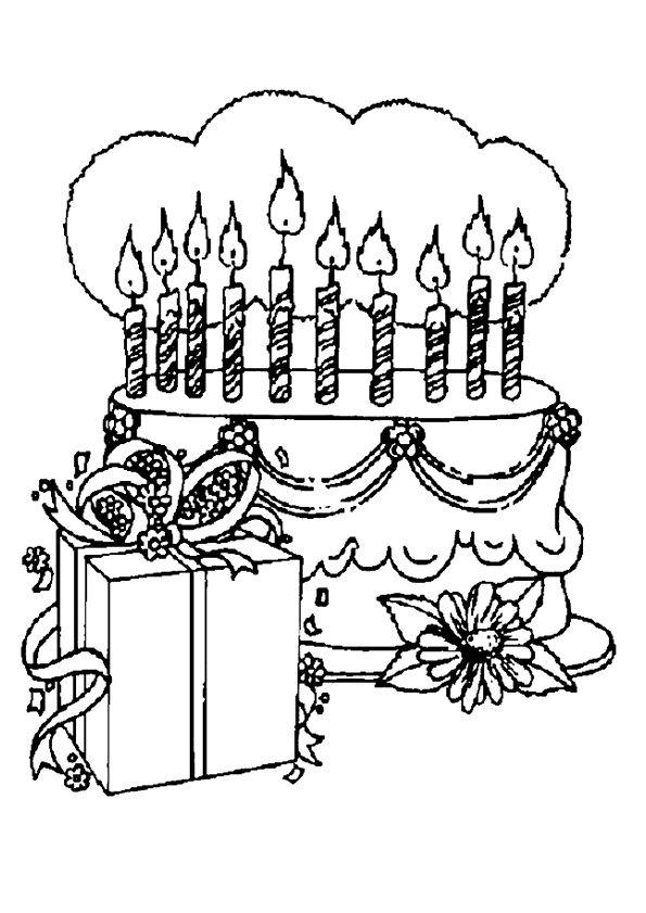 Un gâteau d'anniversaire et un cadeau à colorier