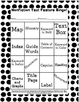 Text Feature Bingo {FREE} Work in pairs to find these features!