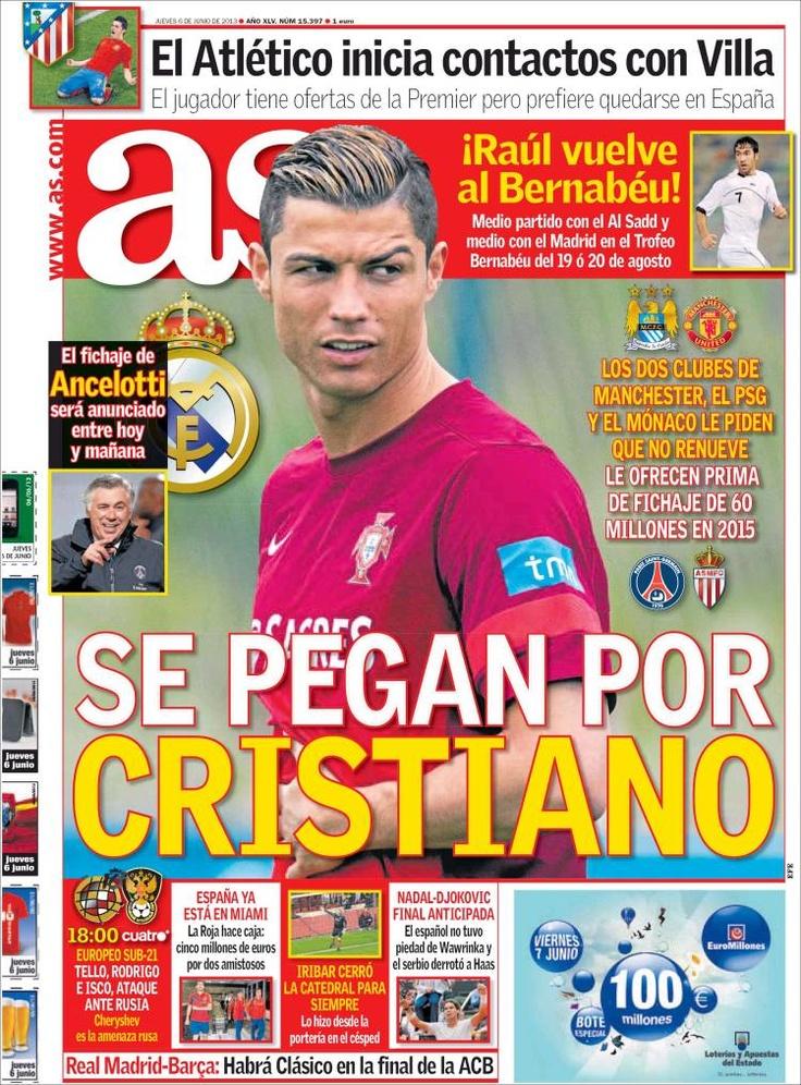 Los Titulares y Portadas de Noticias Destacadas Españolas del 6 de Junio de 2013 del Diario Deportivo As ¿Que le parecio esta Portada de este Diario Español?