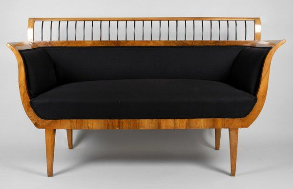 Biedermeier birch and ebonized wood settee gissler