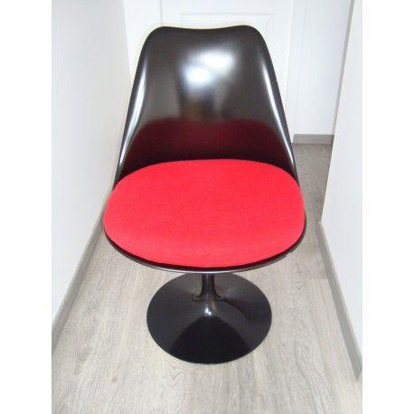 Knoll Eero Saarinen Chaise Tulip rouge - Collector Chic #chaise #Knoll #Saarinen #Eero #Tulip #rouge #noir #plastique #rose #design #bureau