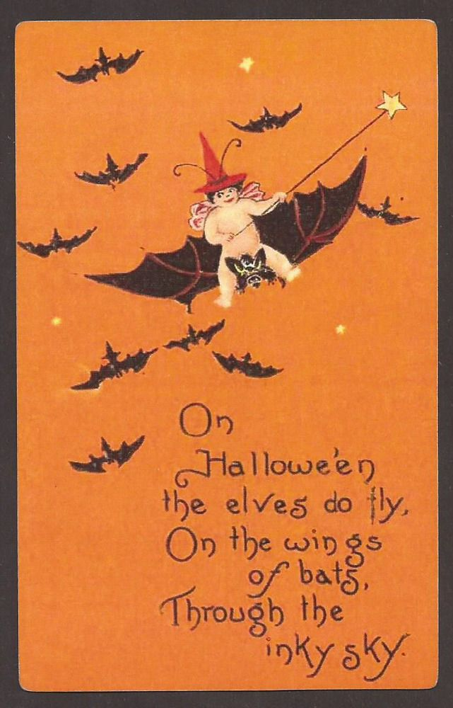 On Halloween the Elves do Fly On the Wings of Bats Trough the inky Sky Postcard #Halloween