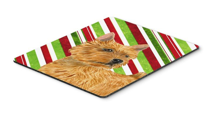 Norwich Terrier Candy Cane Holiday Christmas Mouse Pad, Hot Pad or Trivet