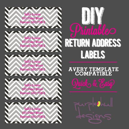Chevron Return Address Labels Black And White Pink, Avery Template DIY,  Printable, Customizeable