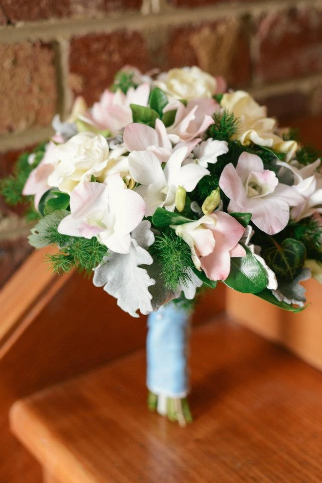 Joelle's Vintage Inspired Wedding: Bridal posy of Gardenias & Singapore orchids with fern, silver sued & Cyclamen Leaves