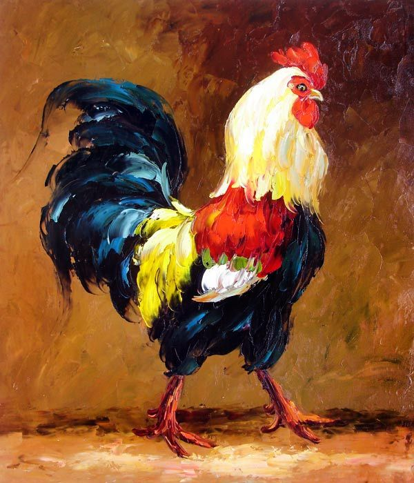 rooster oil paintings