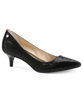 "Saw these in the store and loved them. Looked them up and seriously?! They're called ""Nicki"" Kitten Heel Pumps - Calvin Klein, Macy's"