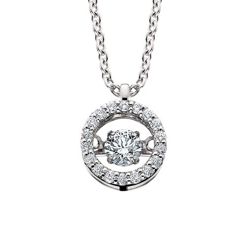 "This circle diamond pendant is part of the Diamond Dancer collection, a line of moving diamond jewelry. The center stone is set away from the skin so it constantly shimmy and shakes, dancing with the wearer's slightest movement. The pendant is 14kt white gold with .33cttw diamond on an 18"" diamond cut cable chain."