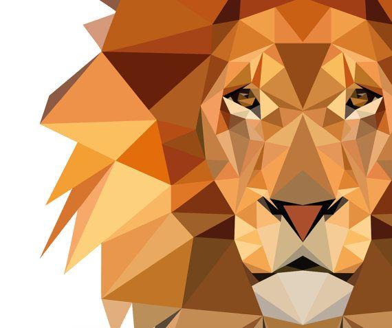 Low Poly Lion Print, Safari Nursery Illustration