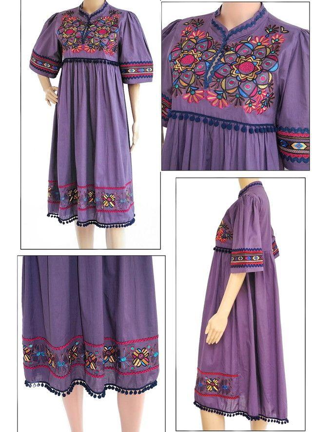 Purple Dress, Lavish Embroidery,Boho Cotton Kaftan
