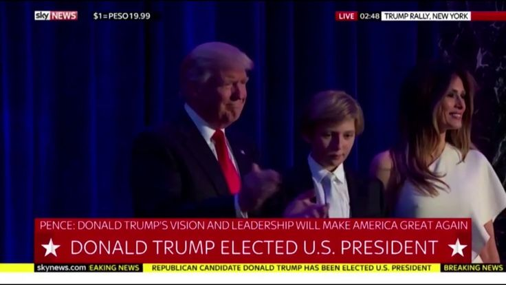 "Music from the film ""Air Force One"" plays as the newly elected President Trump takes the stage in New York."