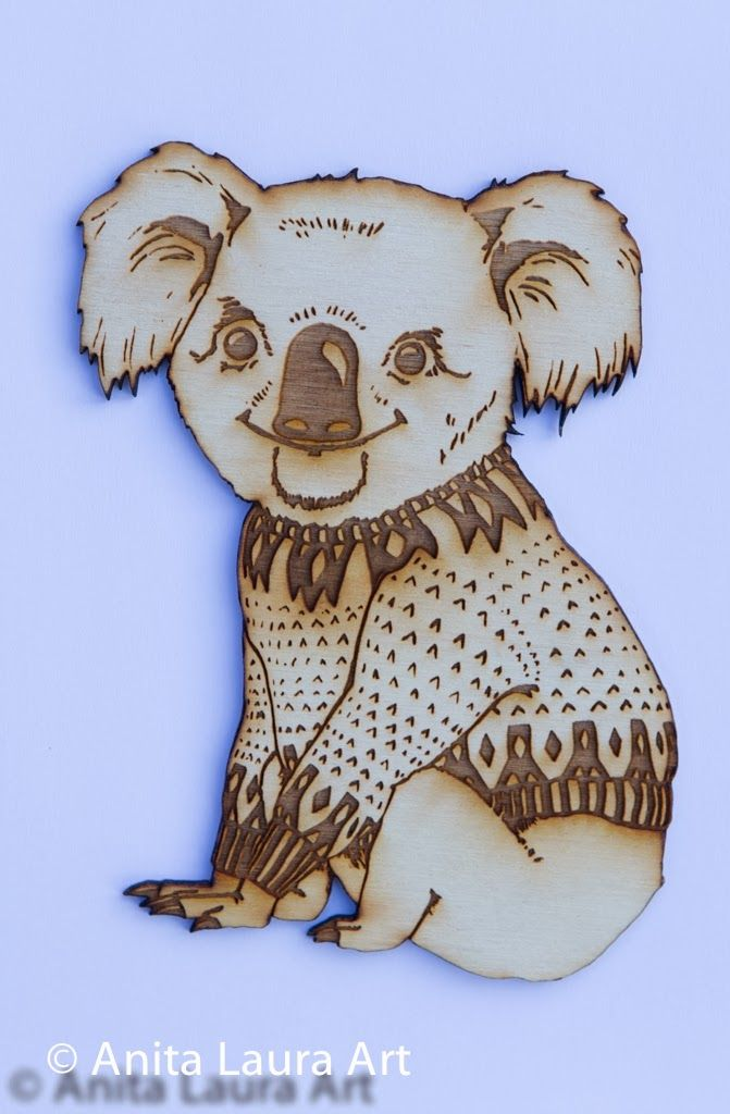 Wooden Koala in a Scandinavian Sweater - Hand drawn laser cut image - Comes as: Framed Art, Magnet or Key chain