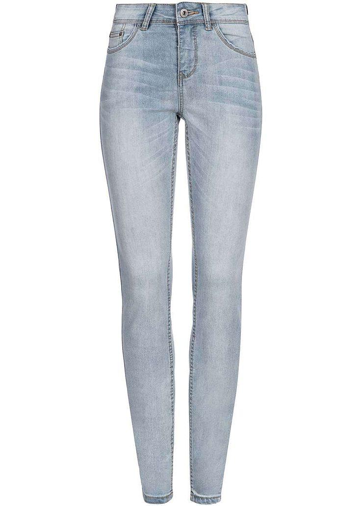 Eight2Nine Damen Skinny Jeans Mid Waist 5-Pocket Style by Rock Angel light blue denim - 77onlineshop
