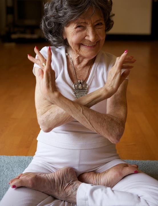 I love this shot, it captures her attitude and joy in teaching. Tao Porchon-Lynch is still teaching at 93. She started practicing at 8, after seeing boys doing yoga on the beach of her hometown of Pondicherry, a French colony in India on the Bay of Bengal. She didn't teach til 45 years ago, after a career that included work as a cabaret dancer in London during World War II and a film actress in the US. Link goes to her website.
