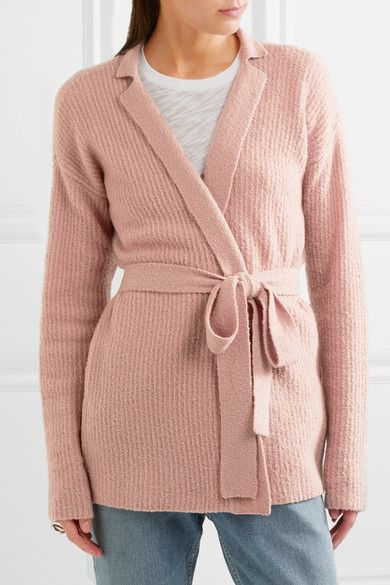 ATM Anthony Thomas Melillo - Belted Ribbed Wool-blend Cardigan - Pink -
