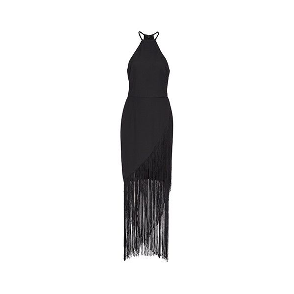 Fame&Partners Hi Low Cocktail Black Fringed Dreamer Dress ($220) ❤ liked on Polyvore featuring dresses, black, cocktail, black hi low dress, evening dresses, cocktail dresses, holiday dresses and high low dresses