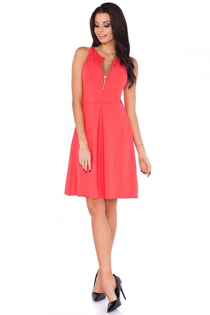 Coral Zip Pleated Dress - Shop Pleated Dresses Online - Fashionhub.