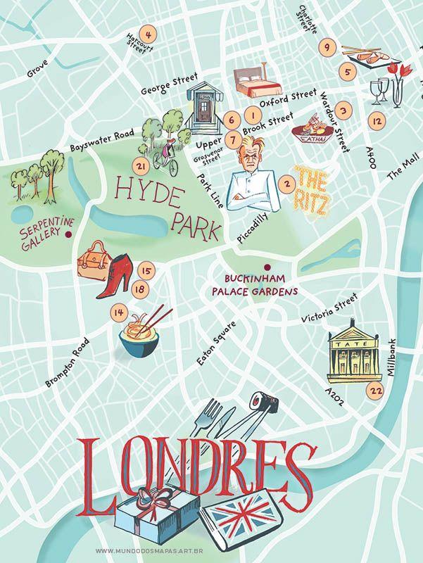 Previous pinner said : Map of London - from mundodosmapas.art.br - the site of Nik Neves and Marina Camargo