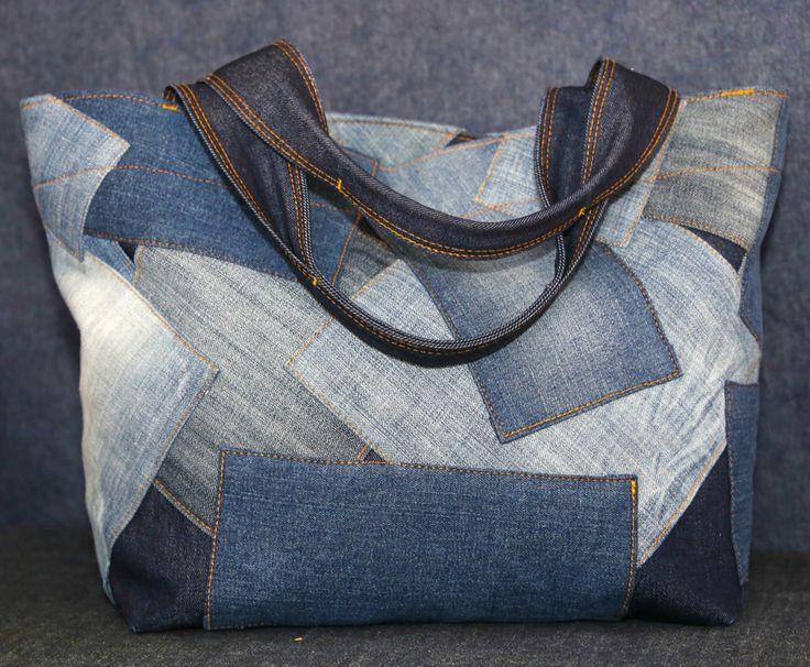 Patchwork denim tote bag lined with a lightweight denim.