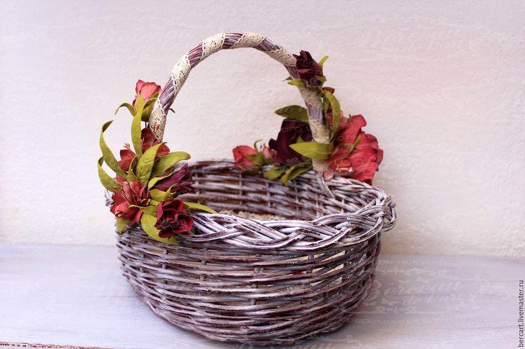 Купить Корзина плетеная подарочная «Деревенский шик» - корзинка, корзина, корзина с цветами, корзина плетеная