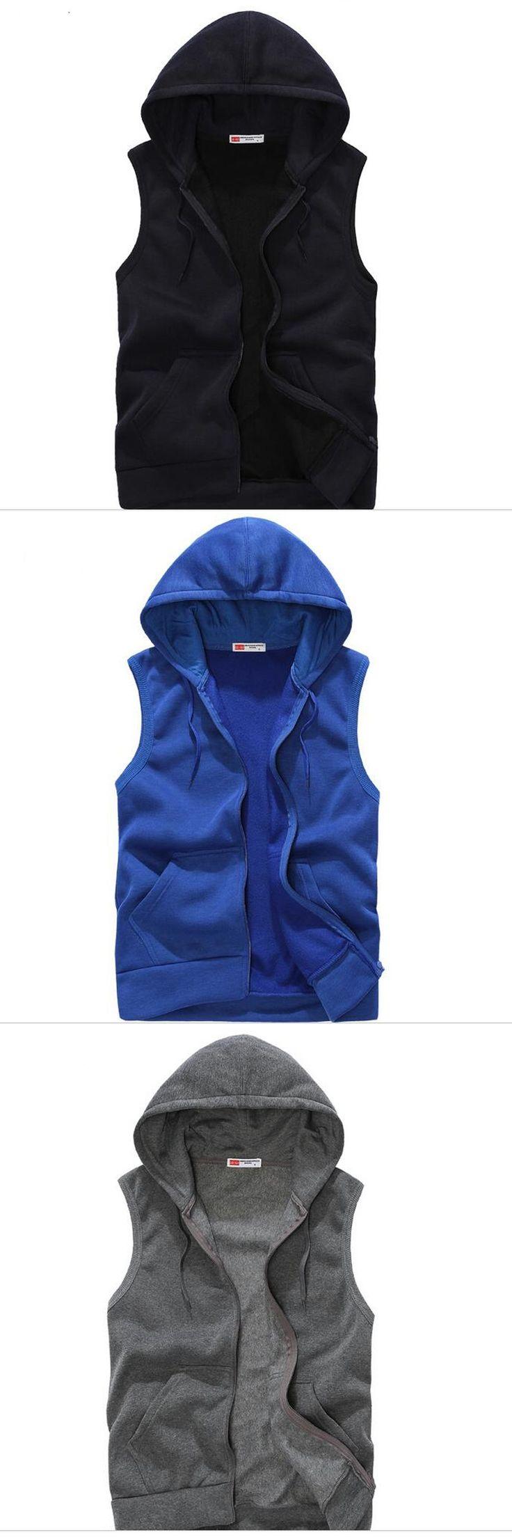 2017 Hooded Vest Jacket Men Sleeveless Jacket Casual Waistcoat Zipper Cardigan Streetwear Hoody Fashion Solid Hip Hop Coats Z15