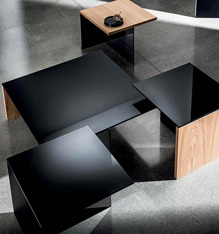 Regolo coffee table collection square top version. #design #wood #glass#smokedglass
