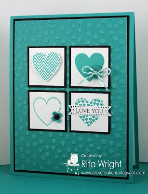 handmade Valentine card: Rita's Creations: Hearts a Flutter ... monochromatic aqua ... four square of inchies topped in different hear designs ... Stampin' Up!