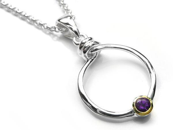 Silver Pendant - Amethyst Encircled