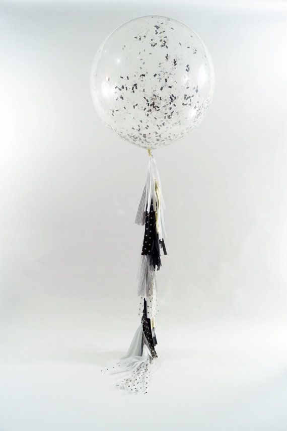 FREE SHIPPING nye Confetti Clear balloon and by StephShivesStudio