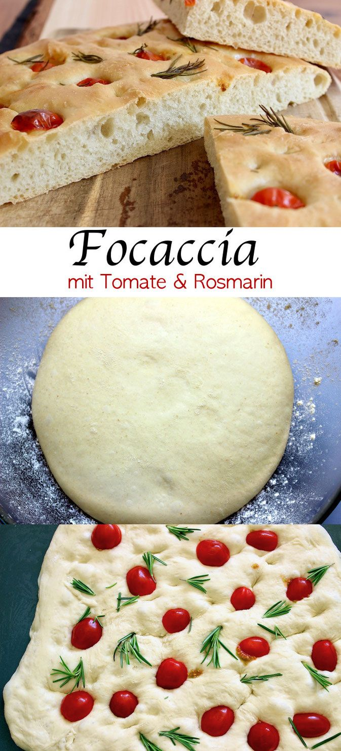 Focaccia with tomato and rosemary