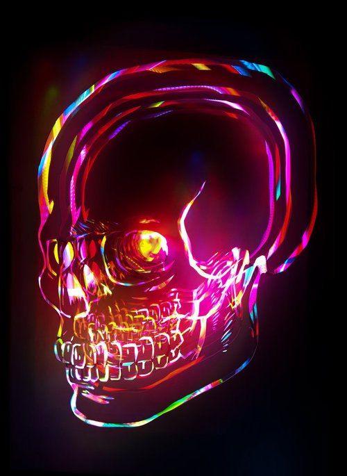 Crânio de Neon ilustrado. More
