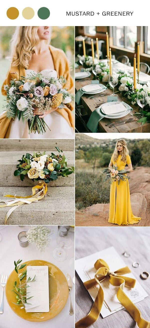 wedding color palette in mustard and green