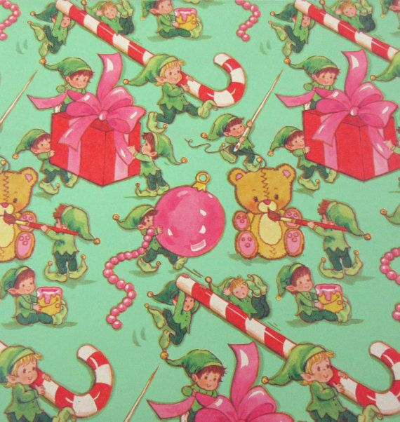 Vintage Green Christmas Wrapping Paper or Gift Wrap with Cute Elves Pesents Candy Canes Tedy Bears Pain Ornaments Packages