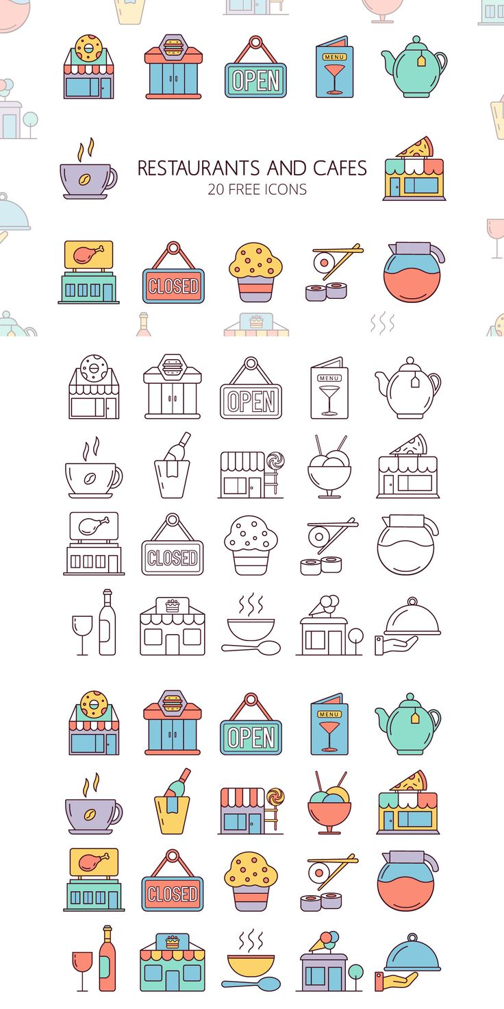 Restaurants and Cafes Vector Free Icon Set is a co…