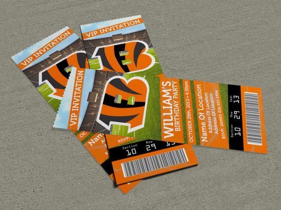 "Cincinnati Bengals Birthday Party/Event Ticket Invitation (2.5"" x 7"")"