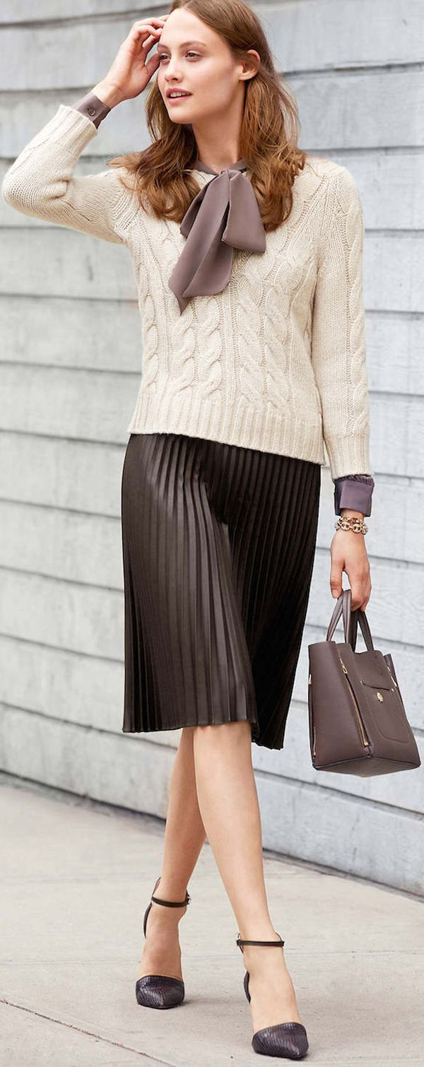 leather skirt + sweater + scarf